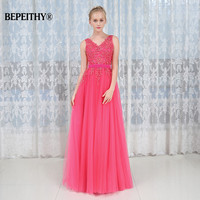 Robe De Soiree Hot Pink Long Evening Dress Party Elegant 2017 Beaded Lace Sexy Open Back