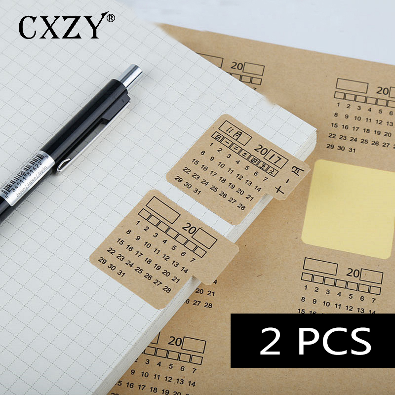 CXZY 2sheets Kraft Paper Calendar Index Stickers Label  Scrapbooking Travel Decorative Bullet Journal Stationery Gift Cute 1T818