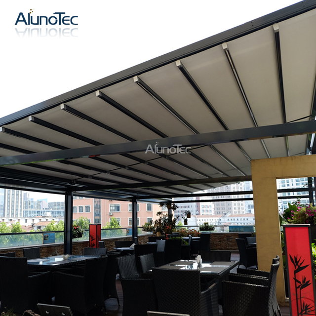 Motorized Waterproof Retractable Pergola Balcony Cover 7m Width X 5m  Projection X 3m Height