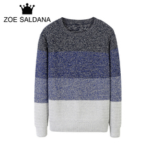 Фотография Zoe Saldana 2017 New Autumn Fashion Brand Casual Colorful Wool Sweater O-Neck Patches Slim Fit Knitting Men