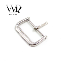 Rolamy 14 16 18 20 22mm Replacement 2mm Tongue Silver Black Rose Gold polished Stainless Steel Pin Buckle For Watchband Strap