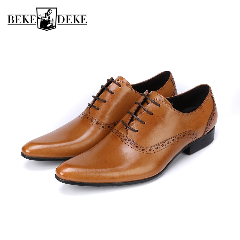 2018 New Genuine Leather Mens Formal Brogue Man Office Party Wedding Lace Up Dress Brown Shoes British Retro Pointed Toe Shoes