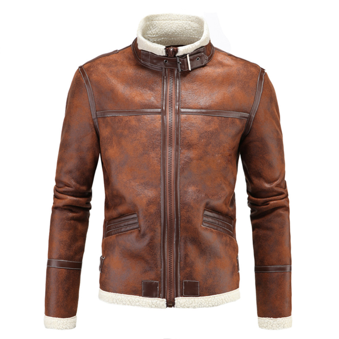 Winter Brand Vintage <font><b>Faux</b></font> Leater Moto Jacket Overcoat Fashion Cosplay Games Fur <font><b>Collar</b></font> Coat Thick <font><b>Tops</b></font> Retro Slim Coats M-3XL