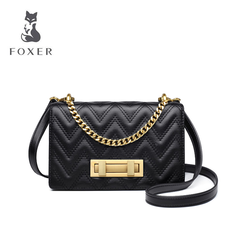 Cow leather handbag  2019 new wave fashion wild shoulder slung portable small square bag Lingge chain bag femaleCow leather handbag  2019 new wave fashion wild shoulder slung portable small square bag Lingge chain bag female