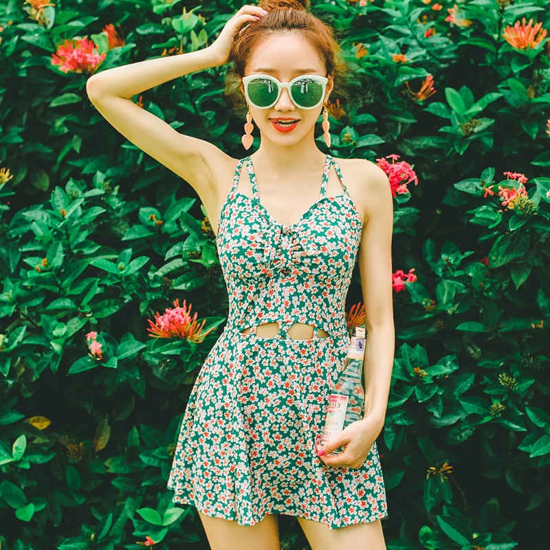 Summer Beach One Piece Suit Swimwear Floral Print Swimming Sport Green Women Bathing Suit Hollow Out Bandage Sexy Swimsuit beach umbrella print one piece swimwear