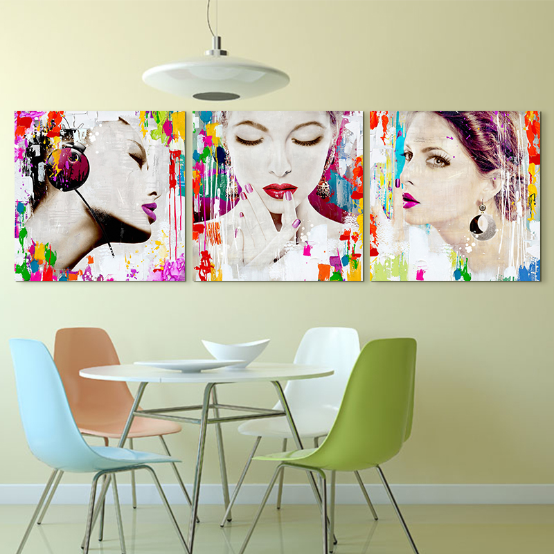 3 Panel Fashion Colorful Woman Canvas Poster Home Decor Absts