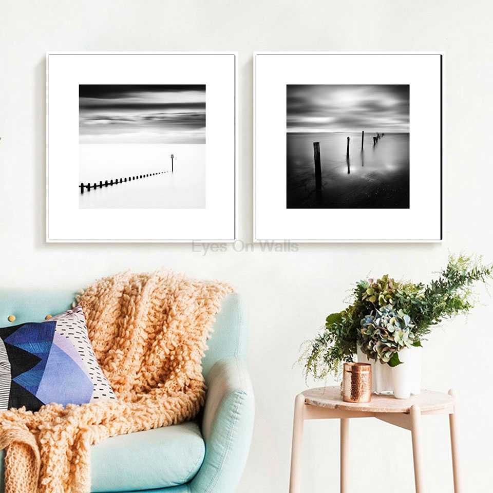 Black and white photography seascape canvas painting nordic art posters prints wall pictures modern home decor
