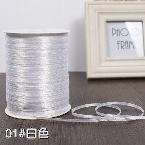 3 мм ширина бордовые атласные ленты 22 метра швейная ткань подарочная упаковка «сделай сам» ленты для свадебного украшения - Цвет: White