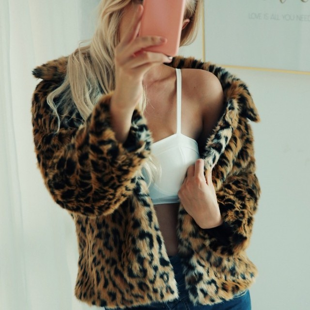 Hot Sale Women Leopard Fur Coat Winter Warm Short Furry Jacket Lapel Collar Casual Hairy Jaqueta Feminina Faux Fur Outwear Coats