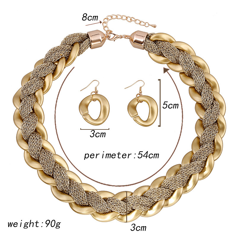 Addy store Acrylic Golden Fiber Necklace Fashion Accessories Cross border Sources In Europe and America African Jewelry Set in Jewelry Sets from Jewelry Accessories