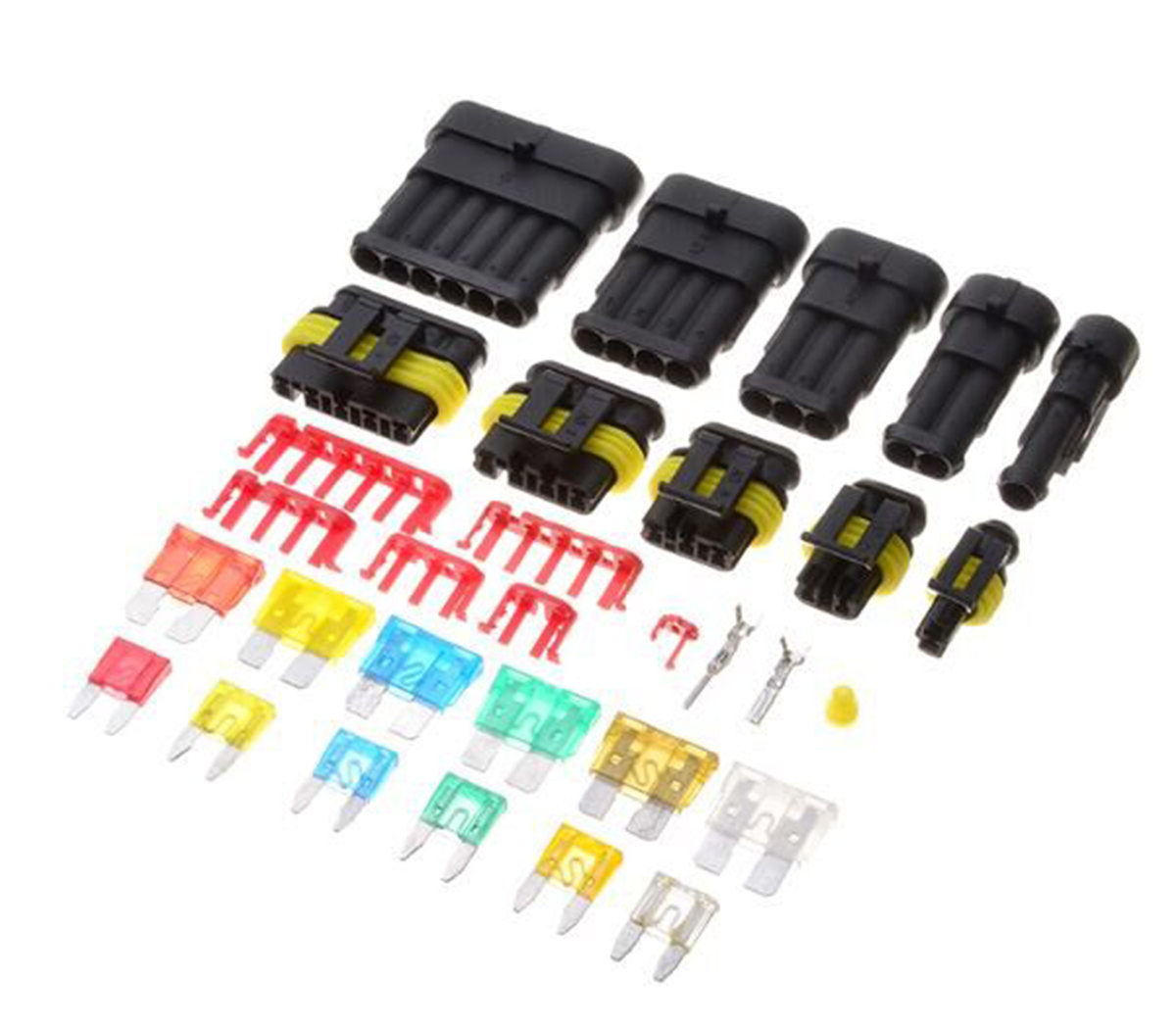 240pcs Waterproof Car Electrical Connector 1/2/3/4/5/6 Pin Way Terminals with Mini Automotive Blade Fuses Mayitr цена и фото