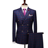 Bespoke Men's Wedding Suits Groom Tuxedos Formal Suits Business Causal Slim Navy Plaid Double Breasted Classical suits for man