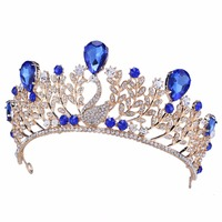 3 Inch Luxury Crown Rhinestone Wedding Bridal Crystal Tiara Gold Plated Princess Pageant Prom Hair Accessory