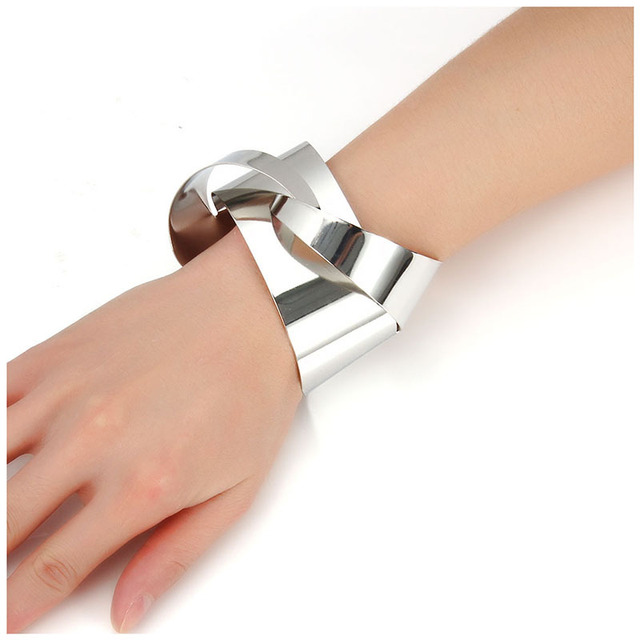Find me 2017 moda aleación de apertura smooth brazalete pulsera para las mujeres pulseras y brazaletes de la joyería punky de la vendimia de color elegante maxi