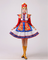 The Mongolian Dance Costumes Female Red Chopsticks Dance Clothing The Mongolian Bowls On Clothing Brief Paragraph
