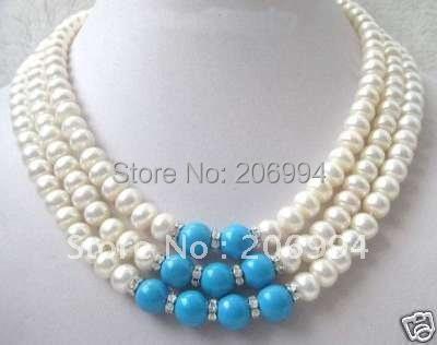 Hand knotted women's 3row 7-8mm white freshwater pearl blue stone necklace fashion jewelry