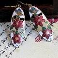 COBRA VERMELHA Moda Jóias Cloisonne Esmalte Brincos Charme Incrível mão-pintado Flores Lindamente Em Forma de elipse