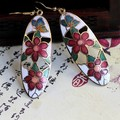 RED SNAKE Fashion Jewelry Cloisonne Enamel Drop Earrings Charm Amazing hand-painted Beautifully ellipse Shaped Flowers