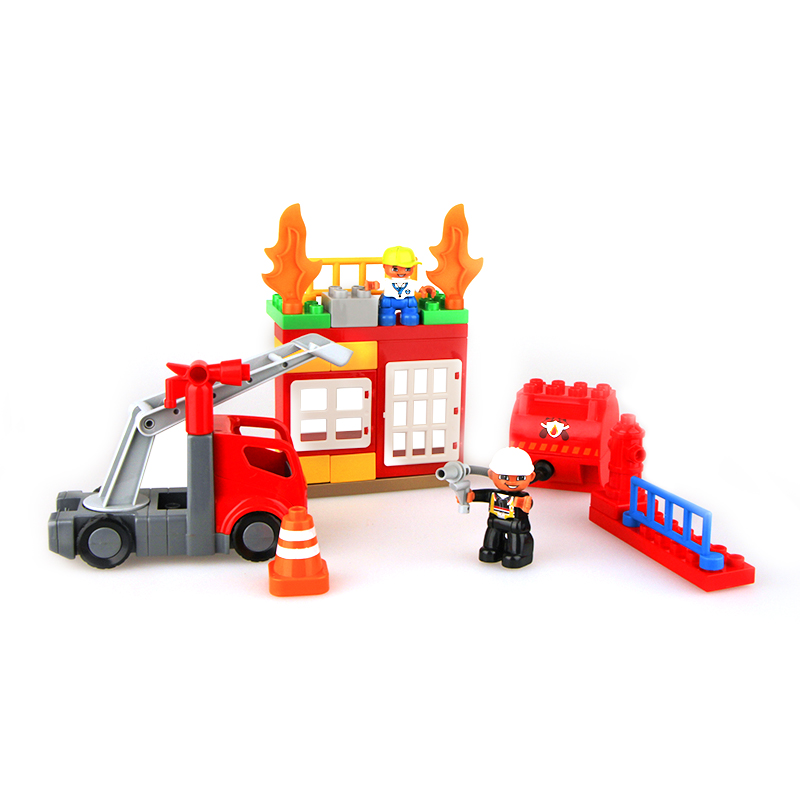 Health and environmental protection puzzle assembling fire-fighting building blocks large particles children's toys spell insert building blocks fire model plastic environmental protection construction science and education children s education