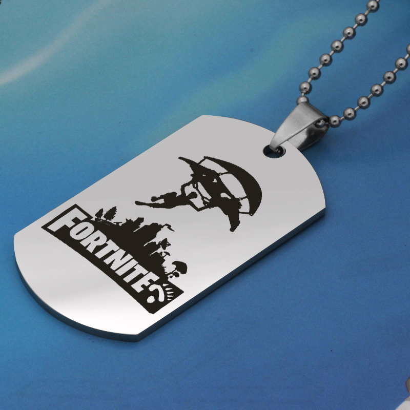 FPS Game flying man pendant Fortnite city pendant stainless steel jewelry necklace Customed words or name necklace N448