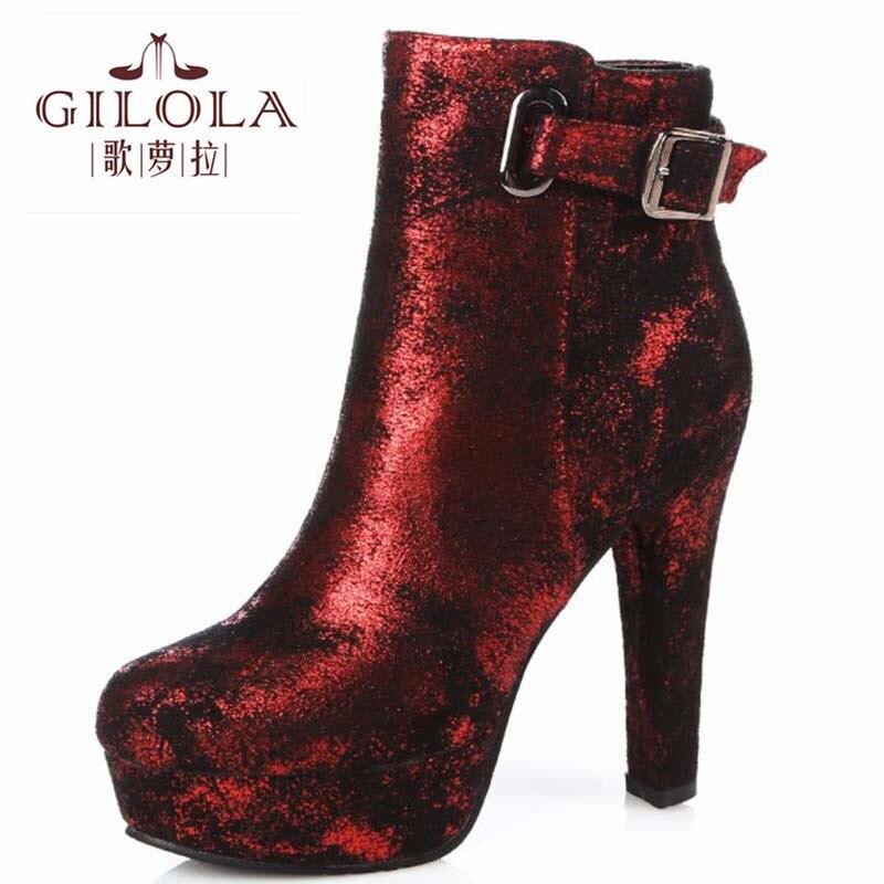 Boyutu 34-43 yeni 2016 moda kadın platformu yüksek topuklu seksi kadın ayak bileği çizmeler sonbahar çizmeler kış ayakkabı kadın best # Y3226331F