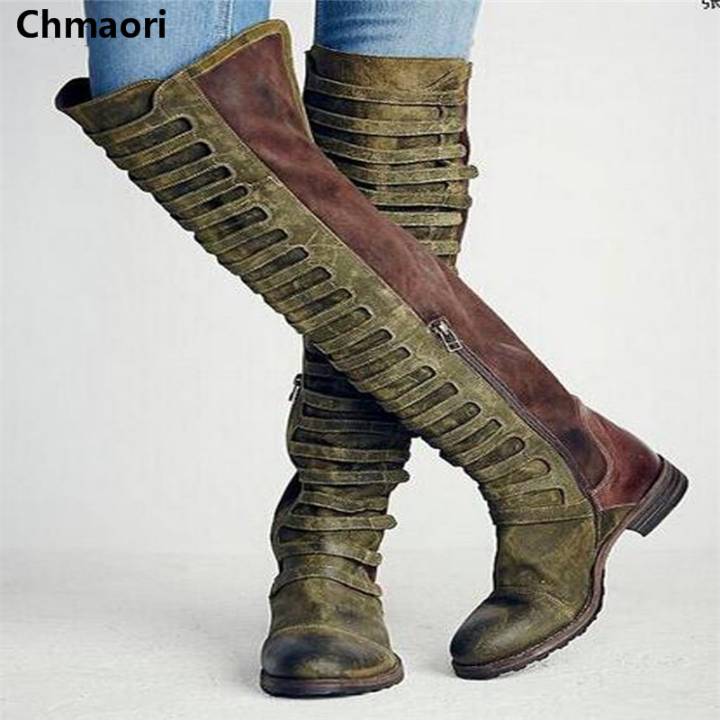 2017 Winter High quality Women Over-The-Knee Round Toe Boots  Flat Heel Patchwork Design Vintage Shoes Lady  Roma Style Boots sgesvier women boots snow boots 2017 winter platform heel casual knee high round toe buckle flat size 34 43 lady shoes ox098
