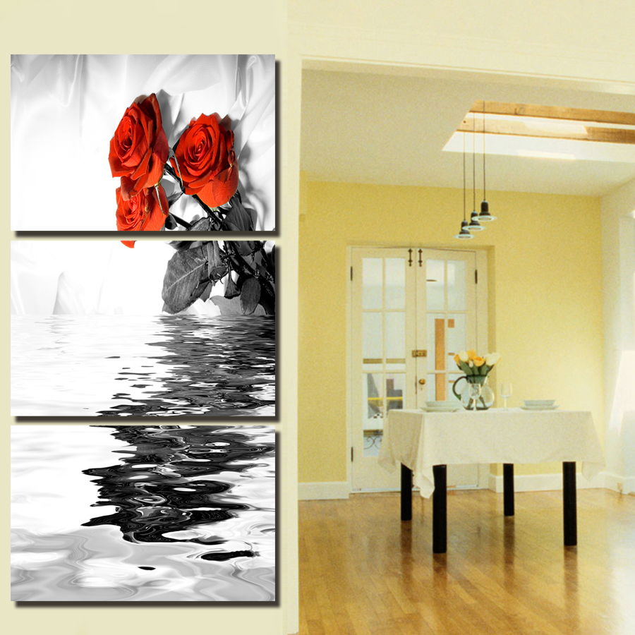 2017 3 Panel Oil Painting On Canvas Red Roses Flowers Wall Art ...