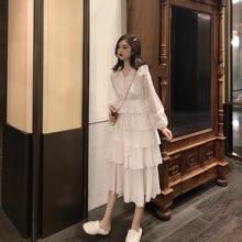Women Clothes 2018 Elegant Dress,Winter Long Sleeve White Dress,Sweet Ruffles Lantern Peter Pan Collar Dress