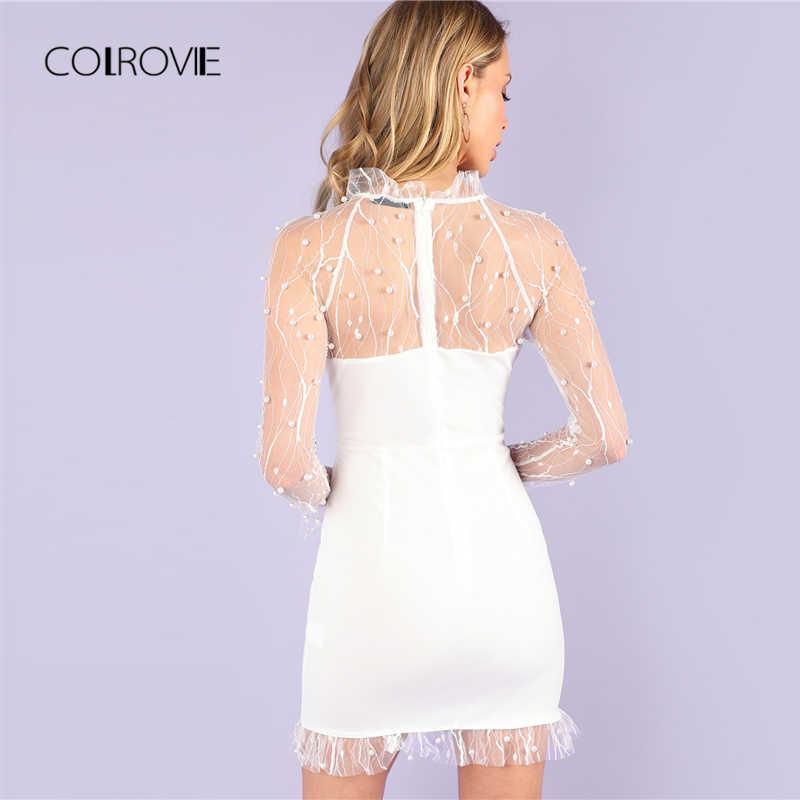 COLROVIE, сексуальное, жемчужное, бисероплетение, лоза, сетчатая панель, гофрированное, белое платье для женщин, новинка 2018, осень, однотонное вечернее платье, тонкие женские платья