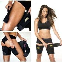 Men and women leg shaper sauna sweat thigh adjustable leggings weight loss hot neoprene compression belt sports knee pads цены онлайн