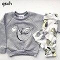 GSCH мальчик одежды наборы С Длинным рукавом динозавров Костюм 2 шт. (Рубашка + Брюки) детская Одежда Наряд 2017 Моды ребенка устанавливает bebes