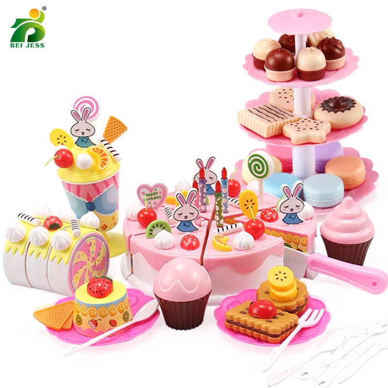 110 Pcs Girls Birthday Cake Set DIY Pretend Play Miniature Cookies Food Utensils Cutting Kitchen Toy For Kids Christmas Gifts