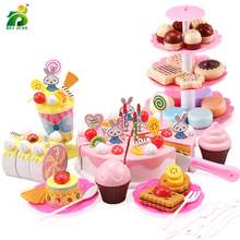 110 Pcs Girls Birthday Cake Set DIY Pretend Play Miniature cookies Food Utensils Cutting Kitchen Toy For Kids Christmas Gifts(China)