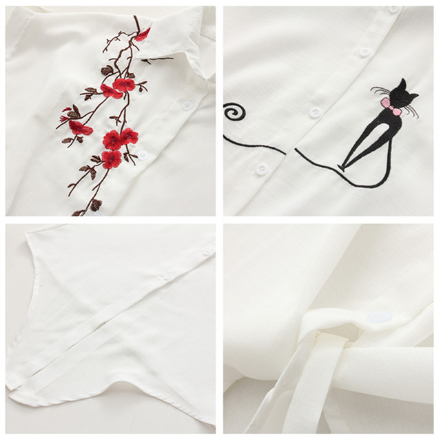 2018 Top Summer Women Casual Tops Short Sleeve Embroidery White Top Blouses Shirts Sexy Kimono Loose Beach Shirt Blusas Feminina 4