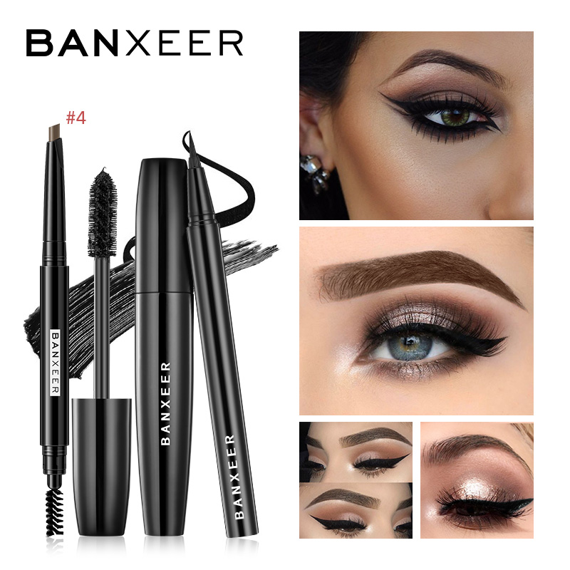 BANXEER Eye Makep Set Including Mascara Eyeliner Eyebrow Drak Brown Waterproof Eye Makeup Tools For Daily Makeup Eyebrow Pencil