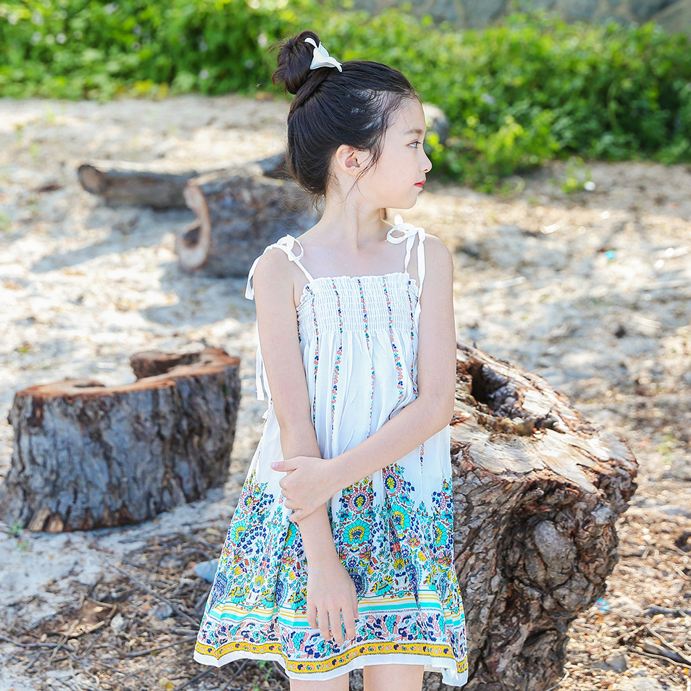 B-A1746 Multi-style Super Cute Sundress Baby Girl Dresses Summer Bohemian Beach Girls Printing Fruitl Sling Dress 5-13Y Clothing парка b style b style bs002ewxwm49