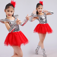 New Children Jazz Dance Dress Girls Red Sequins Princess Modern Dance Costumes For Kids Halloween Costume