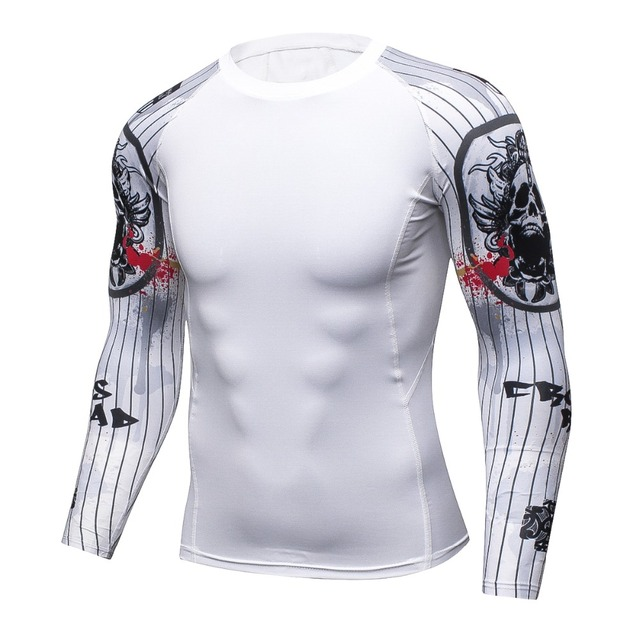 cfb965716534 Muscle Mens MMA Fitness T Shirts Fashion 3D Teen Long Sleeve Palace crime  Compression Shirt Bodybuilding Crossfit Brand Clothing