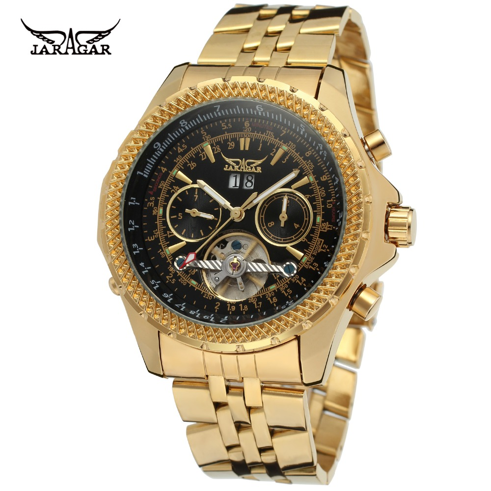 JARAGAR Gold Men Luxury Brand Watch Stainless Steel Tourbillion Automatic Mechanical Wristwatches Gift Box Relogio Releges 2016 winner women luxury brand skeleton genuine leather strap ladies watch automatic mechanical wristwatches gift box relogio releges