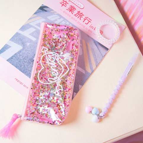 Jamie Notes Shiny Pencil Cases Leather PVC Pencil Bag For School Girls Kawaii Bag Creative Kawaii Stationery School Supplies
