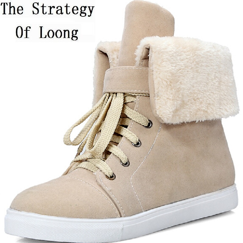 Women Autumn Winter Flats Chunky Heel Lace Up Nubuck Leather Round Toe Fashion Ankle Snow Boots Plus Size 33-42 SXQ0908 low frequency laser pulse rhinitis treatment anti snore apparatus sinusitis nose therapy massage health care allergy reliever