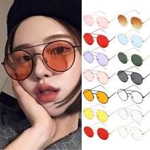 Солнцезащитные очки зеркальные женские круглые, роскошные маленькие брендовые дизайнерские солнечные очки в стиле ретро, желтые, красные