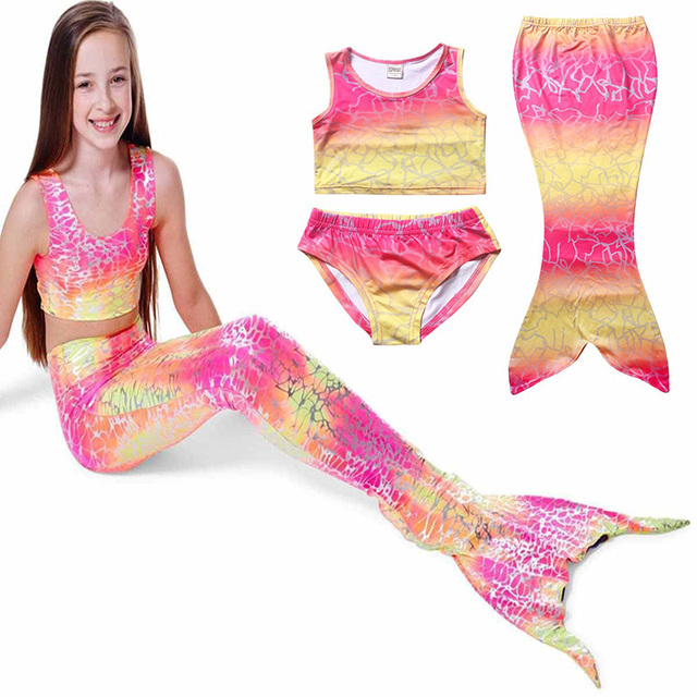 88085bc2a51 Kids Girls Halloween Mermaid Swimsuit Costume 3PCS Set Funny Child Pink  Bathing Suit Birthday Party Gift For Baby Girls 4-10T