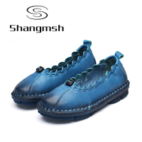 Shangmsh Ballet Flats 2017 Autumn Casual Genuine Leather Handmade Women S Shoes Slip On Round Toe