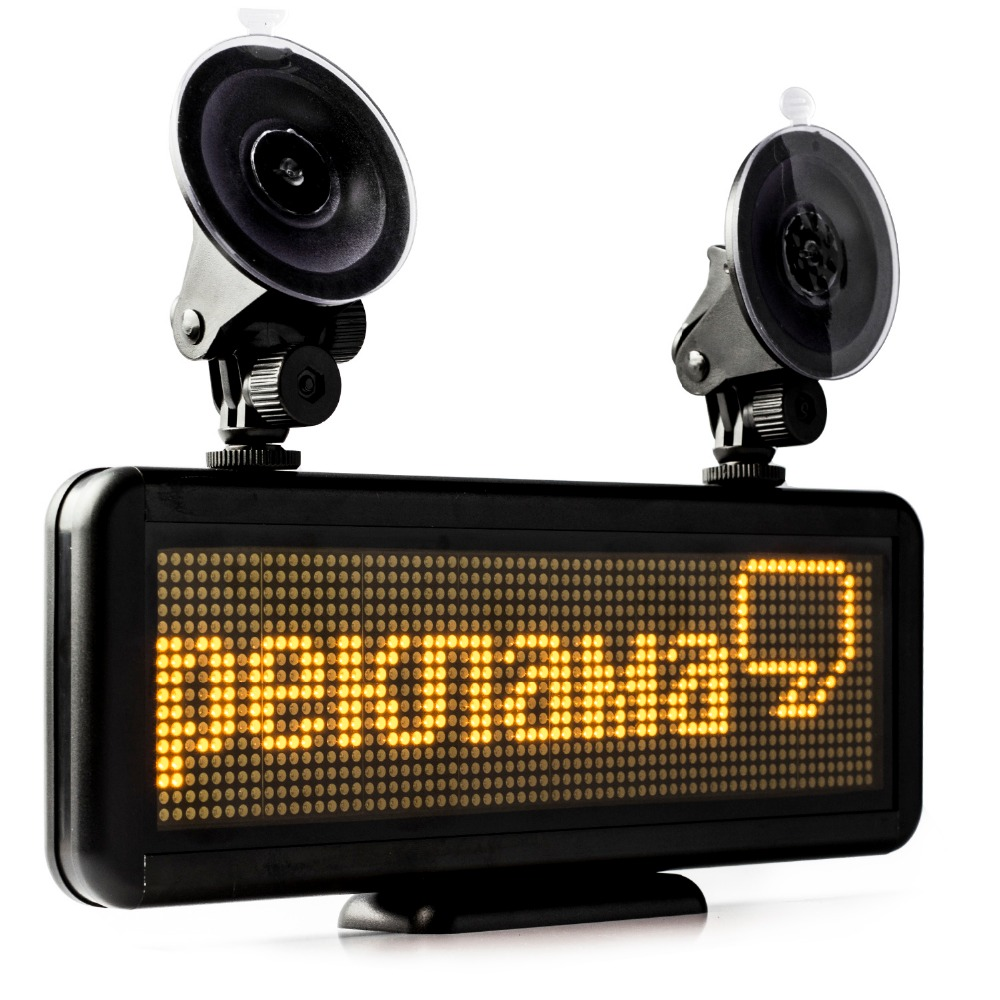 DIY LED Display Indoor Lighting For Car Rear Window Rechargeable Battery Super Long Working Time yellow light edit Message Sign rechargeable led car sign pixel 16 128 rgy programmable message display module panel high bright led light for car advertising