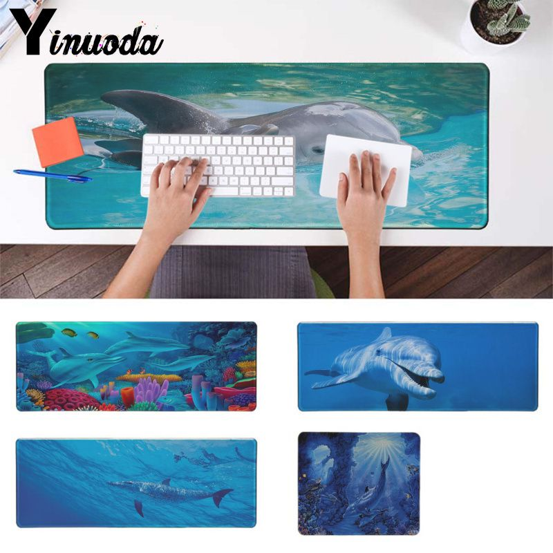 Yinuoda Dolphins under the sea Natural Rubber Gaming mouse pad Desk Mat LOL CS Computer Peripherals Keyboard Pad Home Gifts Mat