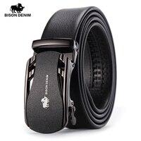 BISON DENIM Belts For Men Genuine Leather Cowskin Black Belt Automatic Buckle High Quality Business Male