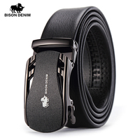 BISON DENIM Belts For Men Genuine Leather Cowskin Black Belt Automatic Buckle High Quality Business Male