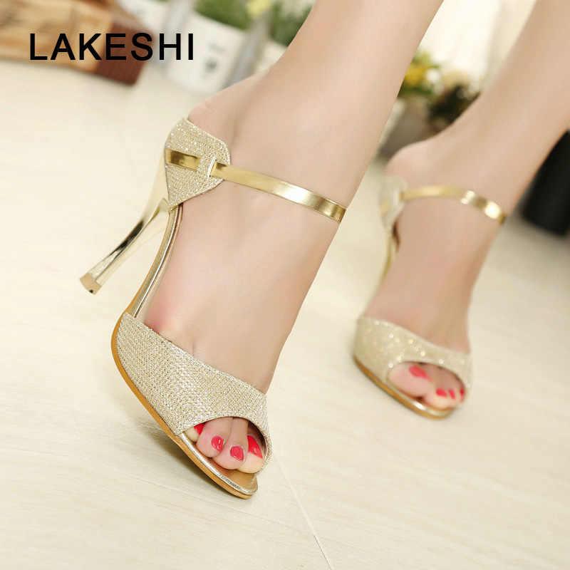 f23f808b5b01 Women Sandals Fashion High Heels Women Sheos Gold Silver Buckle Ladies Shoes  Summer Comfort Female Sandalias