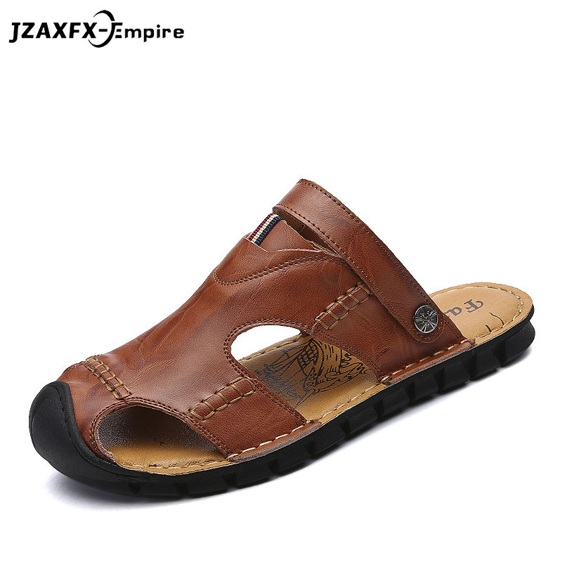 2018 Summer New Men Sandals Genuine Leather Casual Shoes Slippers Breathable Beach Sandals Hollow Holes Outdoor Shoes
